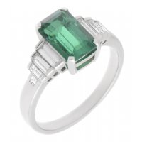 Art deco emerald cut Colombian emerald and baguette diamond ring