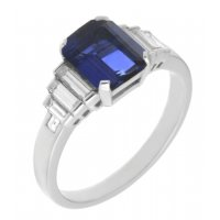 Art deco emerald cut blue sapphire and baguette diamond ring large