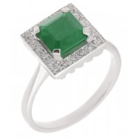 Leo Art deco style square octagon emerald and diamond halo cluster ring