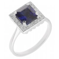 Leo Art deco style square octagon blue sapphire and diamond halo cluster ring