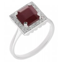 Leo Art deco style square octagon ruby and diamond halo cluster ring