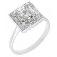 Leo Art deco style asscher and round diamond halo cluster ring