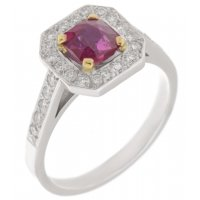 Luciana Art Deco square octagon ruby and diamond halo cluster ring