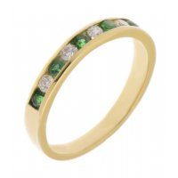 Classic channel set round emerald and diamond eternity ring