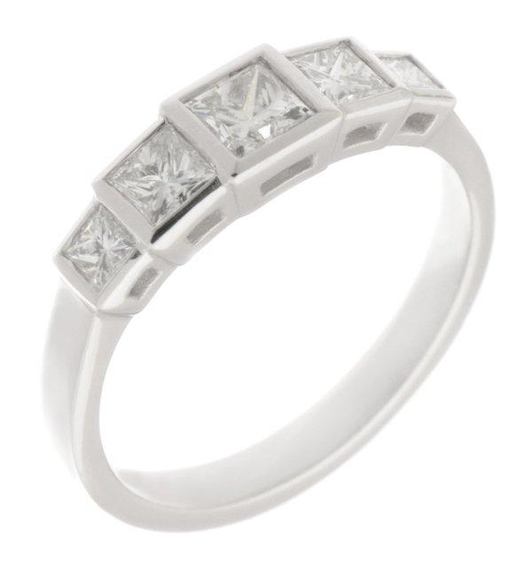Art Deco Style Princess Cut Diamond Five Stone Eternity Ring