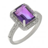 Classic emerald cut octagon Amethyst and round diamond halo cluster ring