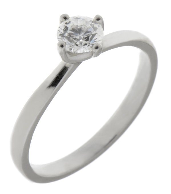 Classic twist style round brilliant cut diamond solitaire engagement ring