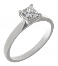 Kiss style princess cut diamond solitaire engagement ring