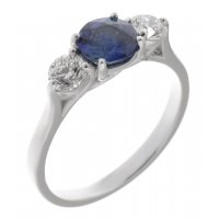 Kiss style round blue sapphire and diamond trilogy ring