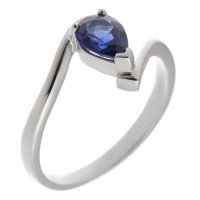Paris pear shape blue sapphire crossover solitaire ring