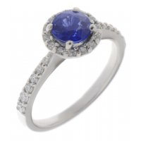 Dion round blue sapphire and round brilliant cut diamond halo ring