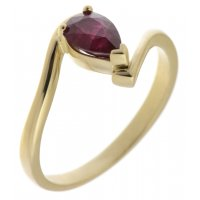 Paris pear shape ruby crossover solitaire ring